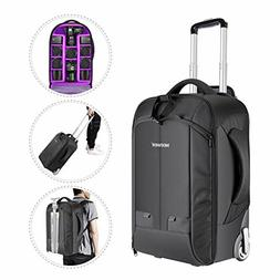 Neewer 2-in-1 Convertible Wheeled Camera Backpack Luggage Tr