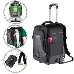 Neewer 2-in-1 Rolling Camera Backpack Trolley Case for Camer