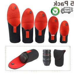 4Pack DSLR Camera Lens Protector Pouch Case Bag Cover Canon