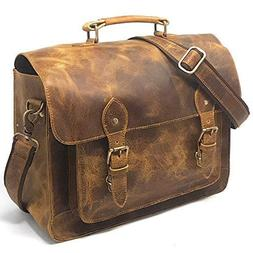 Leather DSLR Camera Bag 15.6-Inch Laptop Briefcase - Shoulde