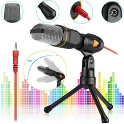 Microphone With Mini Stand Tripod Audio Recording For Comput