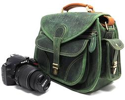 Purple Relic: Vintage Leather DSLR Camera Bag; Crossbody; Fi