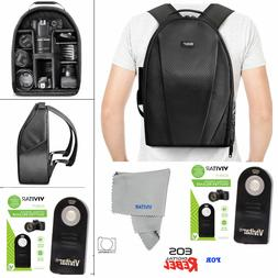 VIVITAR CAMERA BACKPACK BAG + REMOTE FOR CANON EOS REBEL 5D