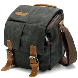 BLUBOON Vintage Canvas Camera Bag Shockproof Leather DSLR SL