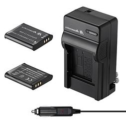 Powerextra 2 Pack Battery and Charger Compatible With Olympu
