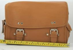 Beige Brown Leatherette Messenger-Style Camera Bag/Purse - N