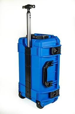 Blue SE830 FAA Carry on approved travel case with wheels. Ca