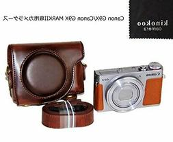 kinokoo camera case coffee PU leather Canon G9 X mark2 JAPAN