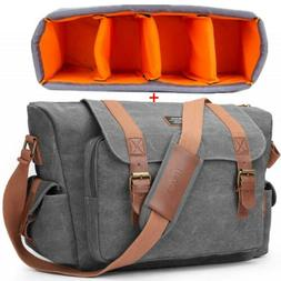Canvas DSLR Messenger Camera Bag Shoulder Laptop Bag for Can