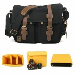 Canvas Camera Bag DSLR SLR Padded Shoulder Messenger Bag for