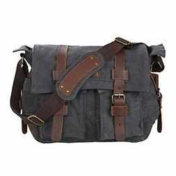 Kattee Canvas Cow Leather DSLR SLR Vintage Camera Messenger