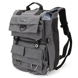 Evecase Large Canvas DSLR Camera Backpack w/Rain cover - Gra