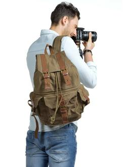 Kattee Canvas DSLR SLR Camera Backpack -- GRAY COLOR--
