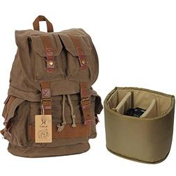 Kattee Fashion Canvas Camera Backpack DSLR SLR Case Rucksack