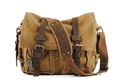Sechunk Sechunk Canvas Leather Messenger Bag Shoulder Bag Cr