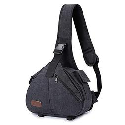 S-ZONE Canvas Camera Sling Bag DSLR Shoulder Crossbody Backp