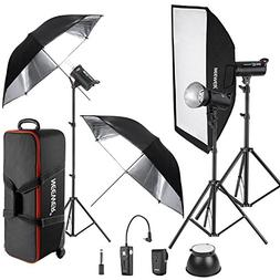 Neewer 900W 3-Piece DS300 Photo Studio Strobe Flash Light wi