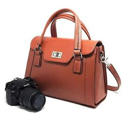 DSLR Camera Handbag Womens Leather Purse Ladies Shoulder Bag