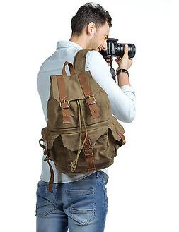 Kattee Canvas DSLR Camera Backpack Waterproof Bag Pouch for