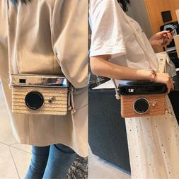 Fashion Woman Girl Camera Shaped Crossbody Bag Straw Weaving