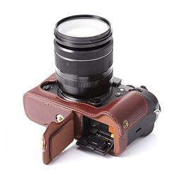 X-T2 X-T3 Case, BolinUS Handmade Genuine Real Leather Half C