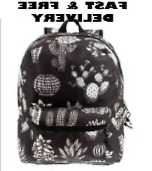 MODA WEST 17in HEAVY DUTY CLASSIC backpack BLK & WHT CACTUS