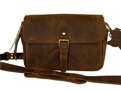 Basic Gear: Leather Camera Bag in Vintage Rustic Look DSLR- Mirrorless Sony, Canon, Camera.