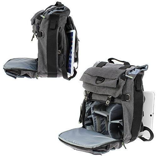 Camera Backpack, Evecase Canvas DSLR Camera with 14 inch Compartment Digital SLR interchangeable 4/3 Micro Four Mirrorless, Film Camera