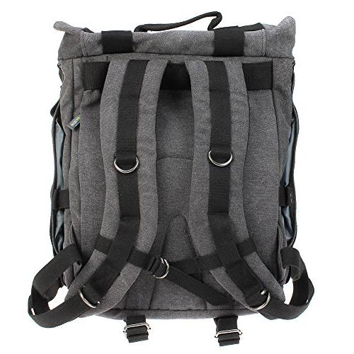 Camera Backpack, Evecase Canvas DSLR Camera Travel with 14 Compartment interchangeable 4/3 Micro Four Third, Mirrorless, Film Camera