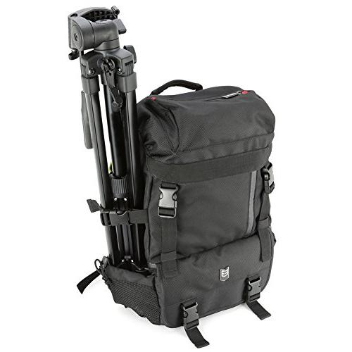 DSLR Outdoor Multipurpose Daypack and Nikon Canon Other Lens, Tripod, - Black