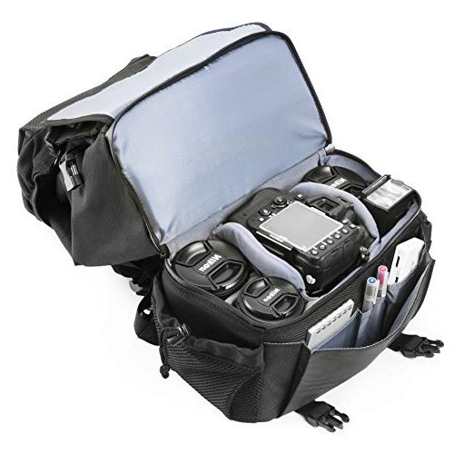 DSLR Evecase Outdoor Water Resistant Multipurpose Daypack with Tablet and Dividers for Nikon Canon Other Camera and Tripod, Accessories Black