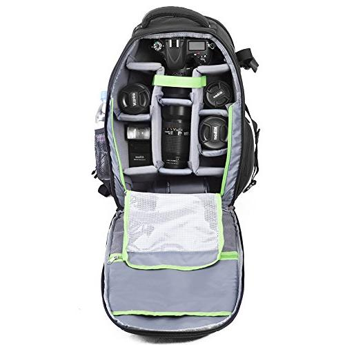 Evecase Bag Backpack, Waterproof Camera Tripod Holder and Cover Camera Canon Sony Mirrorless Lens Flash More Photography Accessories