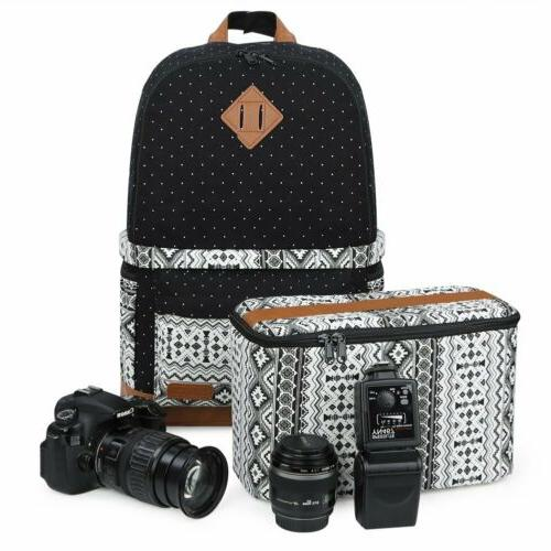 Lady's Casual Canvas DSLR Camera Bag Insert Case Travel Back