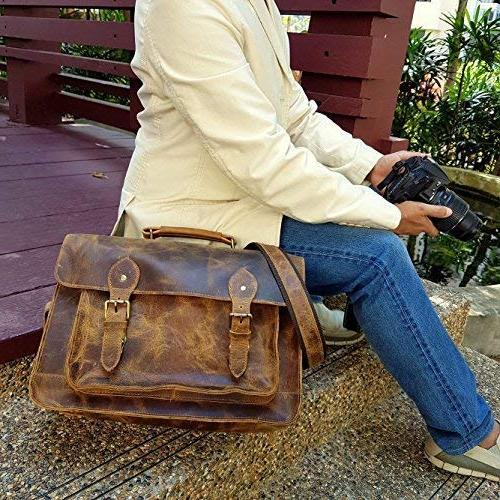 Leather 15.6-Inch Laptop Shoulder Bag w/Removable Professional Size with Lens
