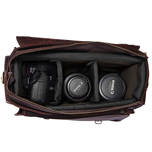 S-ZONE Leather DSLR Bag