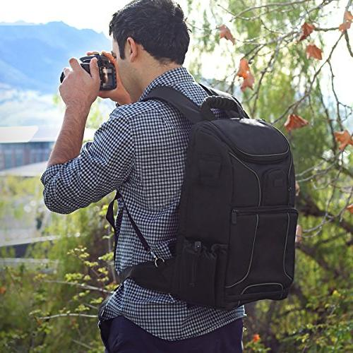 "USA Camera w/15.6"" Compartment featuring Dividers, Tripod Rain Cover. Storage - w/Many DSLR Cameras"