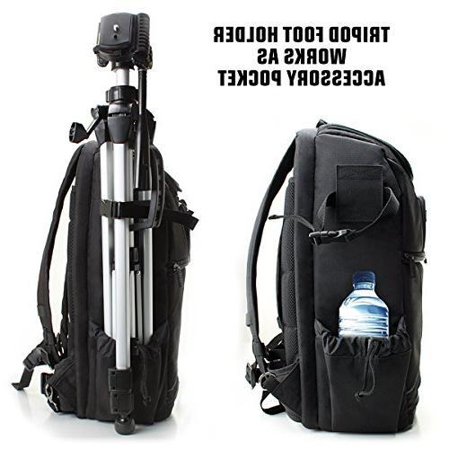 USA GEAR Digital Camera Backpack Laptop Compartment Padded Cover. Long-Lasting Durability & Storage w/Many DSLR