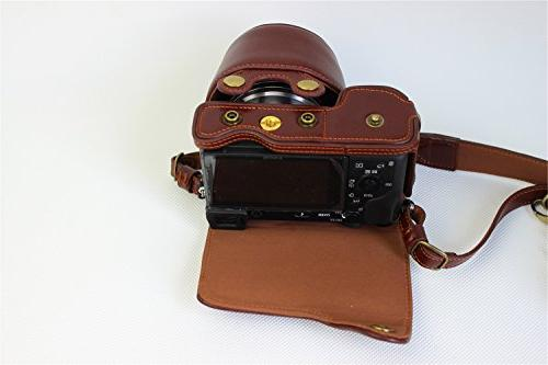 A6000 Handmade Real FullBody Case Cover A6300 A6000 Bottom Opening Version + Neck Strap Mini Bag -