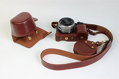 A6000 Handmade Leather FullBody Case Bag Cover for Sony A6300 16-50mm Opening + Neck Bag -
