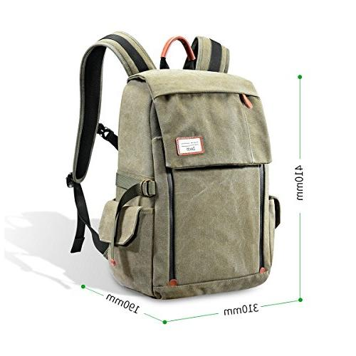 Camera Backpack Zecti Canvas for Digital Camera Accessories Rain Cover-Green