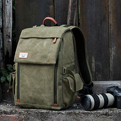Camera Backpack Canvas for Digital Accessories with Rain Cover-Green