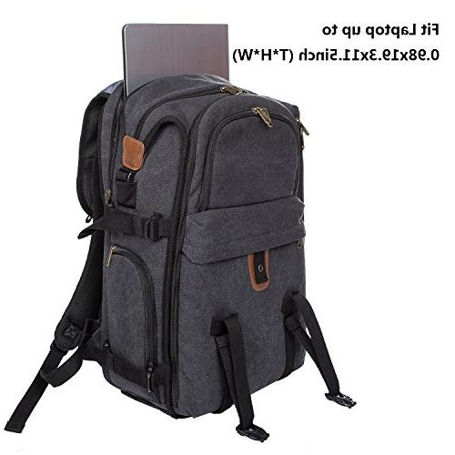 DSLR Camera Canvas Camera Bag with Rain for Cameras/Lenses/Tablet/15.6-inch Laptop