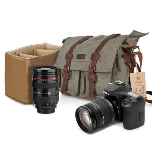 canvas cow leather dslr slr vintage camera