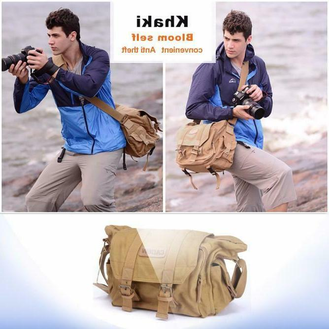 Unisex Canvas DSLR SLR Vintage Digital Camera Gadget Shoulde