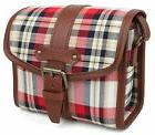 check mini red camera bag vintage canvas