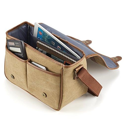 Classic Camera Large Canvas Shoulder Case Leather Trim, Compartment Removable For Mirrorless, Micro High Zoom