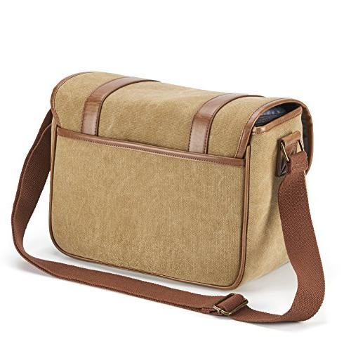 Classic Camera Bag, Large Shoulder with Leather Trim, Tablet Compartment Micro