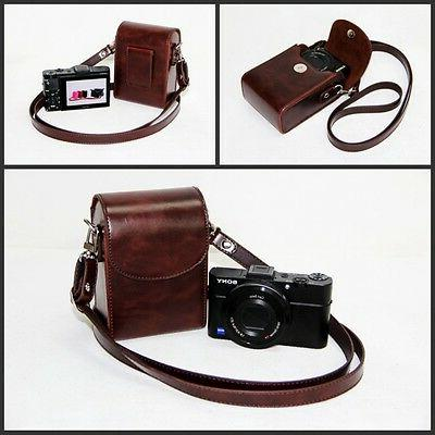 Coffee Leather Case Bag for OLYMPUS Tough TG-3 TG-2 iHS XZ-1
