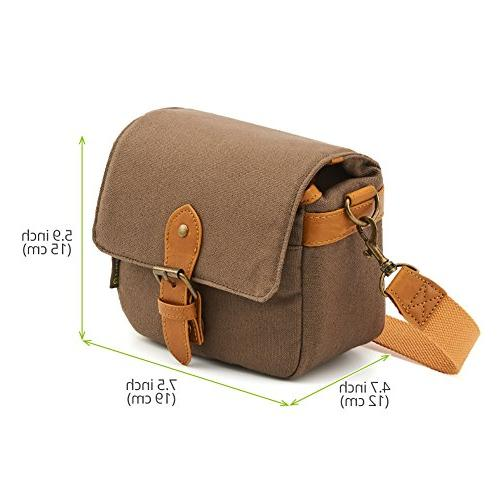 Compact Shoulder Bag Small Canvas Shoulder Pouch Case for 4/3 Micro Four Third/Compact Digital