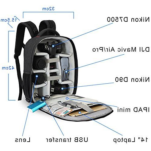 CADeN Professional DSLR Bag with Charging Port Cover Photography Backpack for Women Case Compatible Canon Lens Accessories
